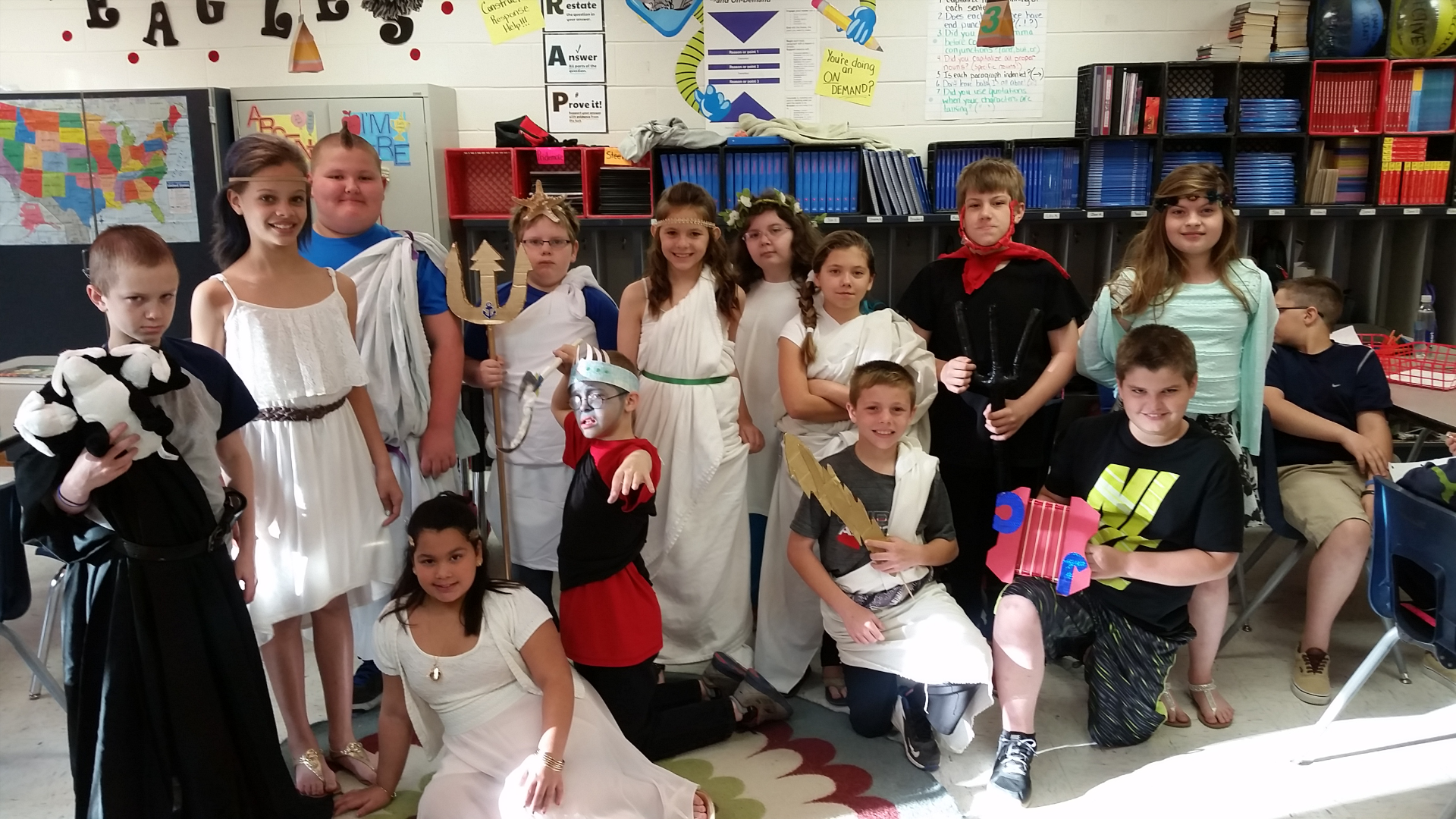 Students dressed in Greek Mythology costumes.