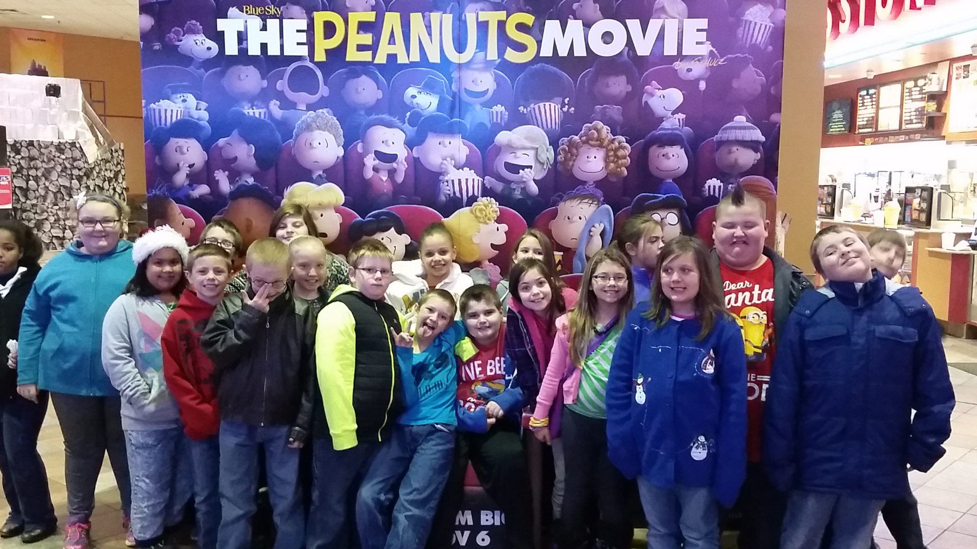 Students posing at the movie theatre.