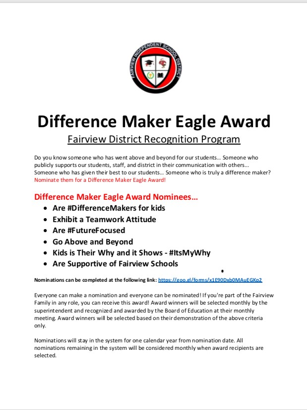difference maker eagle award fairview independent schools